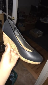 unpaired black and brown wedge sandal Coverdale, E1J 1J8