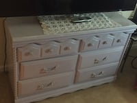 white wooden 6-drawer lowboy dresser