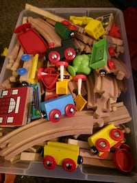 Bin of train pieces