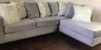 Gray Sectional W Mohair Pillows