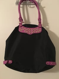 Black and pink leather tote bag