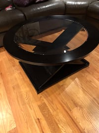 Round black wooden framed glass top coffee table w/ 2 side tables Stoughton, 02072