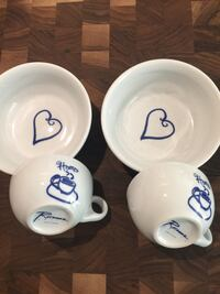 Blue/White Breakfast Set for Two (Heart Cereal Bowls/Home Coffee Cups) Washington, 20001