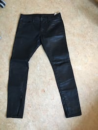 "Zara Men Black Skinny Stretch Pants 31""/40, Shinny Black"
