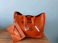 cognac leather tote bag with wristlet Columbia, 21046