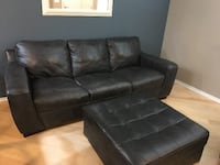 Charcoal Gray Leather couch and ottoman La Mesa