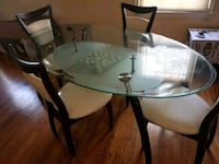 round glass top table with four chairs dining set Bowie, 20715