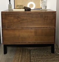 One King'Nightstand, bed side table, side table, accent table, in Walnut/Black