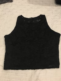Black lace (see through front) crop top