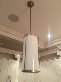 Set of nickel and white glass Pendant lights