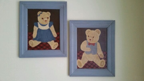Pair of hand painted bear pictures