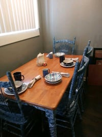 Custom blue dining table and chairs