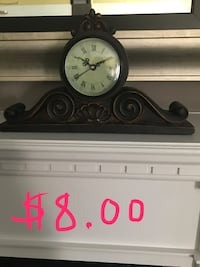 Clock - wood mantle clock. Never used, but works using 1 AA battery.  Oakville, L6M
