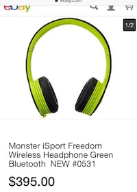Black and green wireless headphones Laval, H7N 3W8