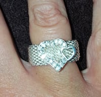 Mesh Sterling Silver Double Hearts Ring sz 7 SALE!!!!!!! Coleman, 76834