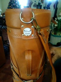 brown leather golf bag with golf clubs Park City, 67219