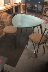 Glass table and 3 chairs  Toronto, M6P 3R7