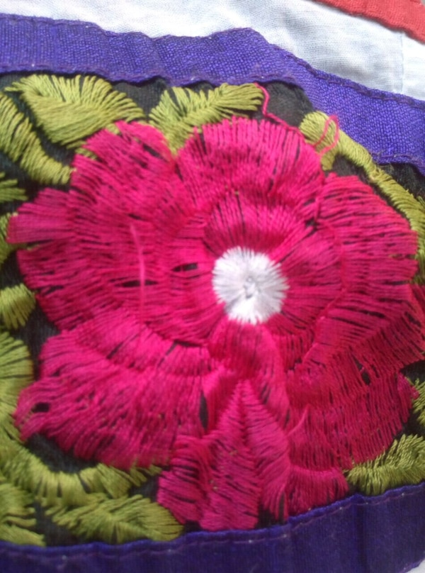 pink and green floral textile