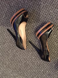 pair of brown leather peep toe platform stilettos Enfield, EN1 1UY