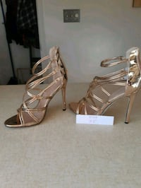 pair of brown leather open toe ankle strap heels Edmonton, T5L 3A7