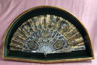 18TH CENTURY FRENCH PAINTED PAPER AND MOTHER OF PEARL FAN IN GILT GLASS FRAME Damascus