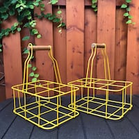 2 Wood Handled Yellow Milk Bottle Carriers Toronto, M6G 3E9