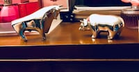 Silver Bull & Bear Desk Ornaments / Paper Weights. Huntington Station, 11743