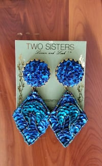 Two Sisters Lauren/Leah Beaded Dangle Statement Clip Earrings  Gaithersburg