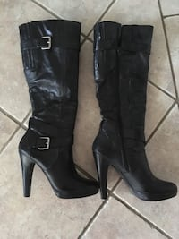 Pair of black leather knee-high boots size 5.5  Kamloops, V1S 1W9