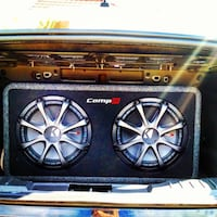 """2 2ohm 12"""" kicker compR subs in ported box w/1200w amp &2F capacitor"""
