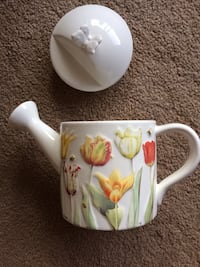white and green floral ceramic mug Calgary, T3C 0W3