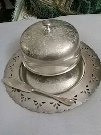 Silver over copper butter dish