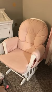 White leather padded glider chair