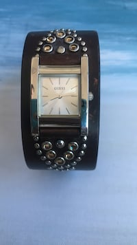 square silver analog watch with black leather strap Mississauga, L5B 3W3