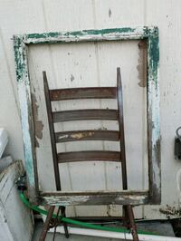 Antique green white chippy paint window frame Dixon, 95620