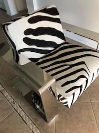 Bernhardt Connor chair with chrome frame and zebra print cowhide upholstery Pearland, 77584