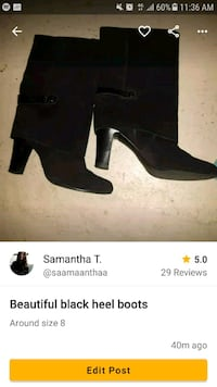 pair of black suede chunky heeled booties screenshot Toronto, M6E 1Y5