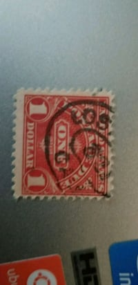 red and white postage stamp Gardena, 90247