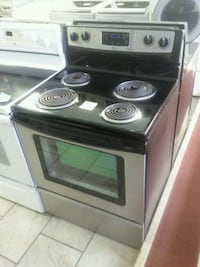 black and gray electric coil range oven Montreal, H4K 1M9