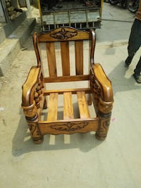 brown wooden framed brown and white padded armchair Bengaluru, 560045