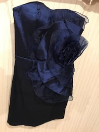 Women's navy satin strapless sheath dress with rose