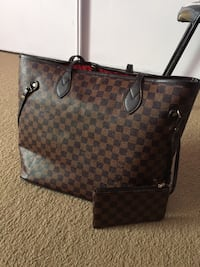 brown monogram Louis Vuitton leather tote bag
