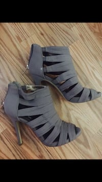 pair of gray strappy high-heeled booties Manassas, 20110
