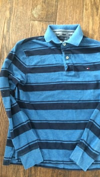 Blue and black striped tommy hilfiger long-sleeved polo shirt Brantford, N3R