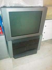 Sony Trinitron CRT TV and Gray TV stand Ajax, L1S