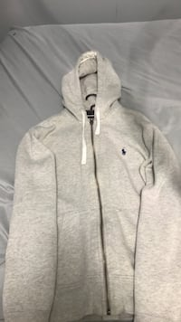 gray and white zip-up hoodie 550 km