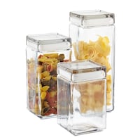 Anchor Hocking 9 stackable square glass canisters