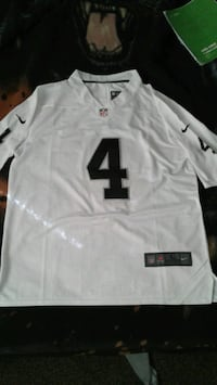 white and black Nike jersey shirt