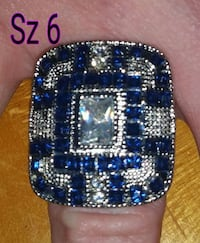 Sapphires, cz diamonds and sterling silver