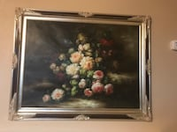 white and pink bouquet of flowers painting framed decor